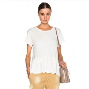THE GREAT. White Peplum Tee Top Over Size